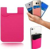 Opplakbare pasjeshouder - Silicone hoesje voor op telefoon - Universele Cardholder – Roze