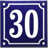 Emaille huisnummer blauw/wit nr. 30