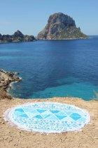 Mycha Ibiza – roundie – rond strandlaken – aztec – blauw – 100% katoen – franje