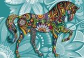 Fotobehang Horse Flowers Abstract Colours | XXL - 312cm x 219cm | 130g/m2 Vlies