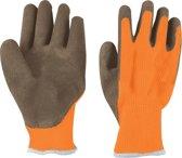 KWB handschoen gebreid met latex coating oranje/zwart maat L