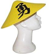 Chinese hoed geel met teken - Aziatisch / Chinees hoedje