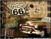 Route 66 Drive & Eat Metalen wandbord in relief 40 x 30 cm