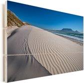 Uitzicht op de Tafelberg vanaf Bloubergstrand Vurenhout met planken 90x60 cm - Foto print op Hout (Wanddecoratie)