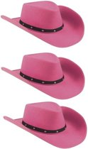 3x Roze cowboyhoeden Wichita voor dames - Feesthoeden verkleedkleding - Cowboy/Western themafeest