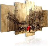 Schilderij - Wandeling door de stad II , 5 luik