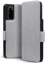 Samsung Galaxy S20 hoesje, MobyDefend slim-fit extra dunne bookcase, Grijs - Geschikt voor: Samsung Galaxy S20