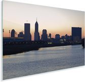 De skyline van het Noord-Amerikaanse Indianapolis bij zonsopgang Plexiglas 120x80 cm - Foto print op Glas (Plexiglas wanddecoratie)
