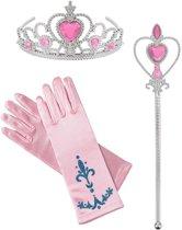 Prinsessen roze accessoire set - staf + kroon + 1 paar handschoenen- Prinses Elsa