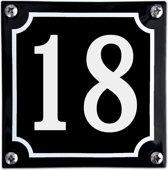 Zwart emaille huisnummer  - 18