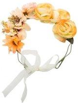 Hippie/flower power oranje verkleed bloemen hoofdband