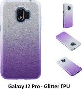 Kleurovergang Paars Glitter TPU Achterkant voor Samsung Galaxy J2 Pro -Zacht en duurzaam - TPU
