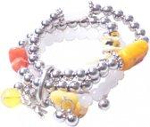 Armband - Zilverkleurig - Kralen - Gele steentjes - Musthaves