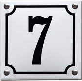 Emaille huisnummer wit/zwart nr. 7
