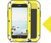 Metalen fullbody hoes voor Apple iPhone 7 en iPhone 8, Love Mei, metalen extreme protection case, zwart-geel