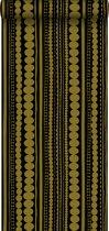 krijtverf vliesbehang kralen zwart en glanzend goud - 128822 van ESTAhome.nl