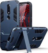 Qubits - Double Armor Layer hoes met stand - Nokia 6.1 Plus - blauw