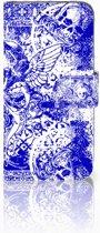 Samsung Galaxy S10e Uniek Boekhoesje Angel Skull Blue