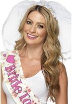 Sluier op haarband met roze roosjes - Leuk voor een vrijgezellenfeest - Bruidsluier