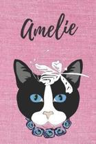 Amelie Katzen-Malbuch / Notizbuch / Tagebuch: Individuelles personalisiertes blanko M�dchen & Frauen Namen Notizbuch, blanko DIN A5 Seiten. Ideal als