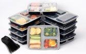FoodGrade Meal Prep Bakjes - 3 Compartimenten - 1000 ml - 10 Stuks + 10 Herbruikbare Sporks - Zwart/Transparant