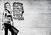 Fotobehang Banksy Graffiti | XL - 208cm x 146cm | 130g/m2 Vlies