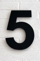 Huisnummer 5 / 20 cm / mat zwart acrylaat 8 mm. Arial Huisnummer met 5 jaar garantie.