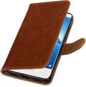 Wicked Narwal | Premium PU Leder bookstyle / book case/ wallet case voor Huawei Y7 / Y7 Prieme Bruin