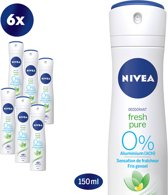 NIVEA Fresh Pure Deodorant Spray - 6 x 150 ml - Voordeelverpakking