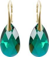 Oorbellen met Swarovski Elements Emerald AB - Goudkleurig Zilver - 22MM