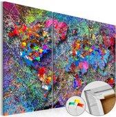 Afbeelding op kurk - Kleurrijke Wereldkaart, Multikleur , 3luik