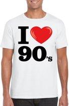 I love 90's t-shirt wit heren - nineties kleding 2XL