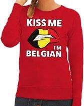 Kiss me I am Belgian sweater rood dames M