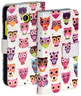 Uil Wit Nokia Lumia 530 Bookcase Flip case Wallet Telefoonhoesje