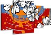 Canvas schilderij Art | Rood, Wit, Oranje | 160x90cm 4Luik