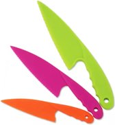 Kiddikutter 3 soorten / kleuren gekartelde kunststof kindermessen - Kindermes - veiligheidsmes - Kindvriendelijke gekleurde messenset voor kinderen - Kids Kitchen Knife Set 3 Piece