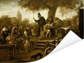 De kwakzalver (De keisnijding) - Schilderij van Jan Steen Poster 160x120 cm - Foto print op Poster (wanddecoratie woonkamer / slaapkamer) XXL / Groot formaat!
