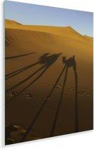 Kamelen schaduwen op de Afrikaanse zandduinen van Erg Chebbi Plexiglas 80x120 cm - Foto print op Glas (Plexiglas wanddecoratie)