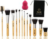 FULLINO Professionele 12-Delige Make Up Kwasten Set - Met Foundation Kwast / Concealer Brush / Kabuki Borstel / Blush Brush / Wenkbrauw & Eyeliner / Oogschaduw Kwasten & Cosmetica / Visagie Kit / Bamboe Brush set Met Zwarte Tasje en Beautyblender