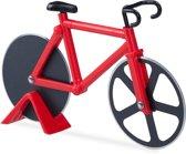 relaxdays pizzasnijder fiets - pizzames racefiets - pizzaroller - origineel - deegroller rood