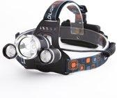Boruit CREE hoofdlamp 3x XM-L T6 LED - Zwart