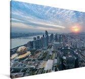 Zonsondergang in Hangzhou Canvas 30x20 cm - klein - Foto print op Canvas schilderij (Wanddecoratie woonkamer / slaapkamer)