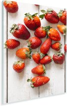 Kleurrijke aardbeien op tafel Plexiglas 40x60 cm - Foto print op Glas (Plexiglas wanddecoratie)