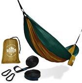 Lumaland - Hangmat - ademend en sneldrogend - Nylon - Belastbaar tot 200kg - 280x140 cm - Olijfgroen