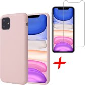 iPhone 11 Hoesje + Screenprotector Case Friendly - Liquid Soft Siliconen Case - iCall - Roze