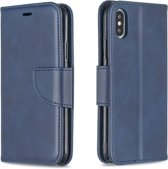 Let op type!! Retro Lambskin Texture Pure Color Horizontal Flip PU Leather Case for iPhone X / XS  with Holder & Card Slots & Wallet & Lanyard(Blue)