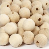 Houten kralen, d: 20 mm, gatgrootte 4 mm, 200 stuks, china berry