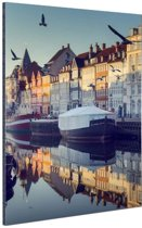 Nyhavn in de ochtend Aluminium 40x60 cm - Foto print op Aluminium (metaal wanddecoratie)