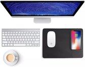 Qi Wireless Charger Muismat Zwart Leder - Draadloze oplader - Game - Smartphones - Samsung - Apple - Huawei
