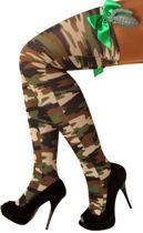 Stay-up kous camouflage en strik en handgranaat one size